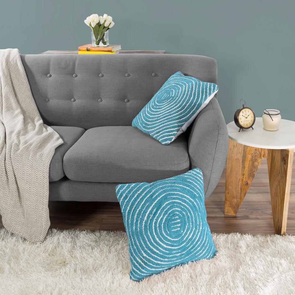 Lavish Home Modern Concentric Circle Blue Decorative