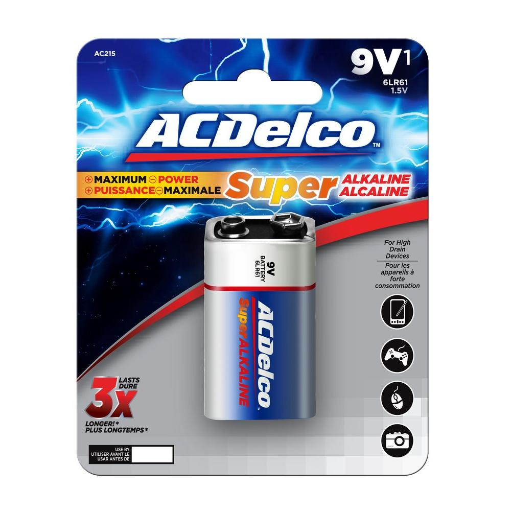 9 Volt Batterie Acdelco Super Alkaline 9 Volt Battery 12 Pack