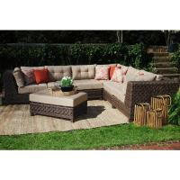 Hampton Bay Granbury 6-Piece Metal Outdoor Sectional with ...