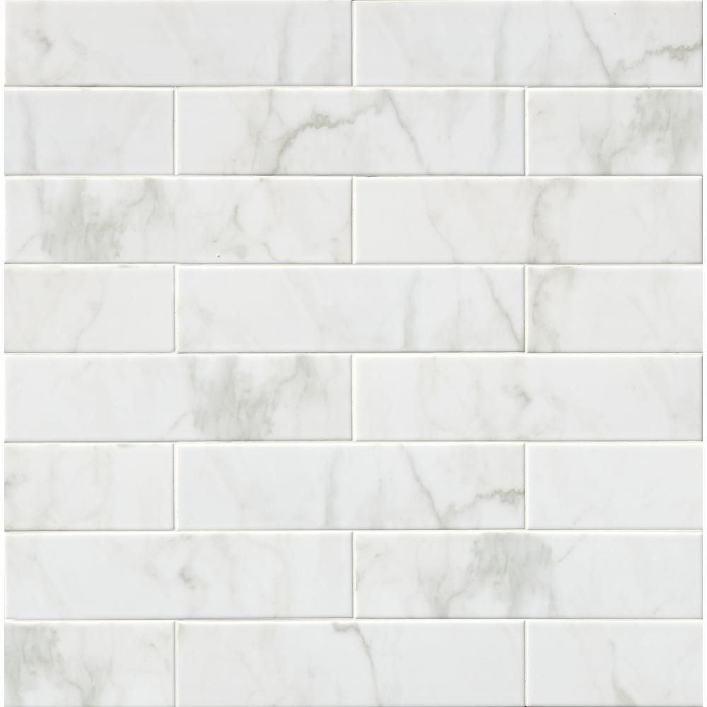 MSI Marmi Blanco White 4 in. x 16 in. Glazed Ceramic Wall