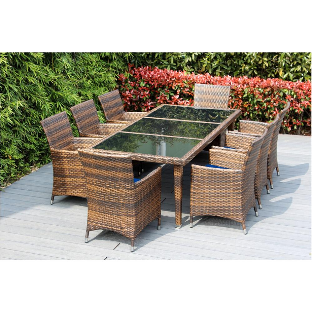 9 Piece Outdoor Dining Set Ohana Depot Mixed Brown 9 Piece Wicker Patio Dining Set With Spuncrylic Blue Cushions