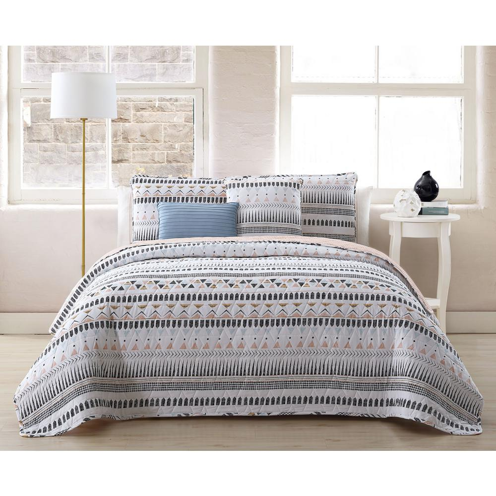 Quilt Sets Prescott 5 Piece White King Quilt Set