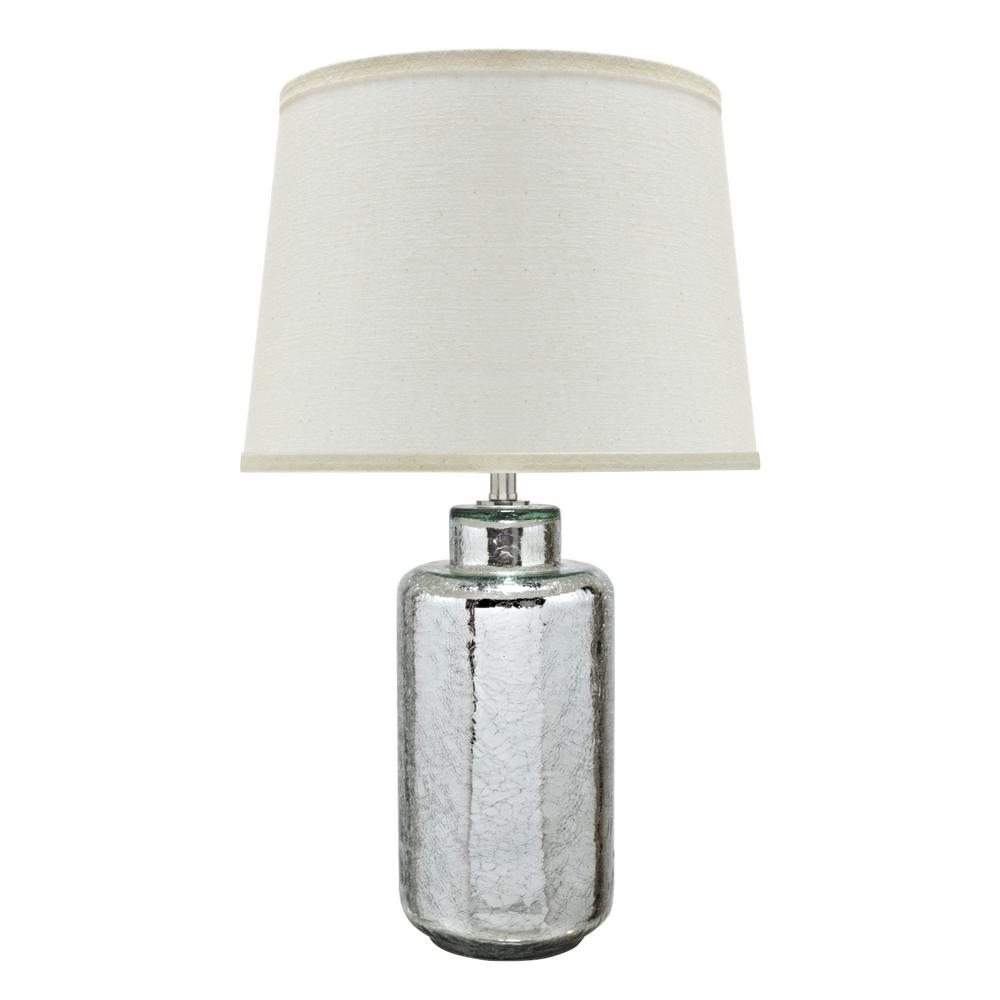 Glass Crackle Lamp Aspen Creative Corporation 23 In Antique Crackle Mercury Glass Table Lamp With Empire Shaped Lamp Shade In Off White