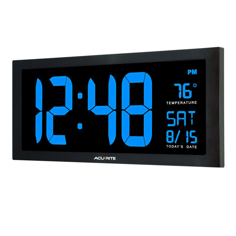 Digital Clock Acurite 18 In Large Led Clock With Indoor Temperature In Blue Display
