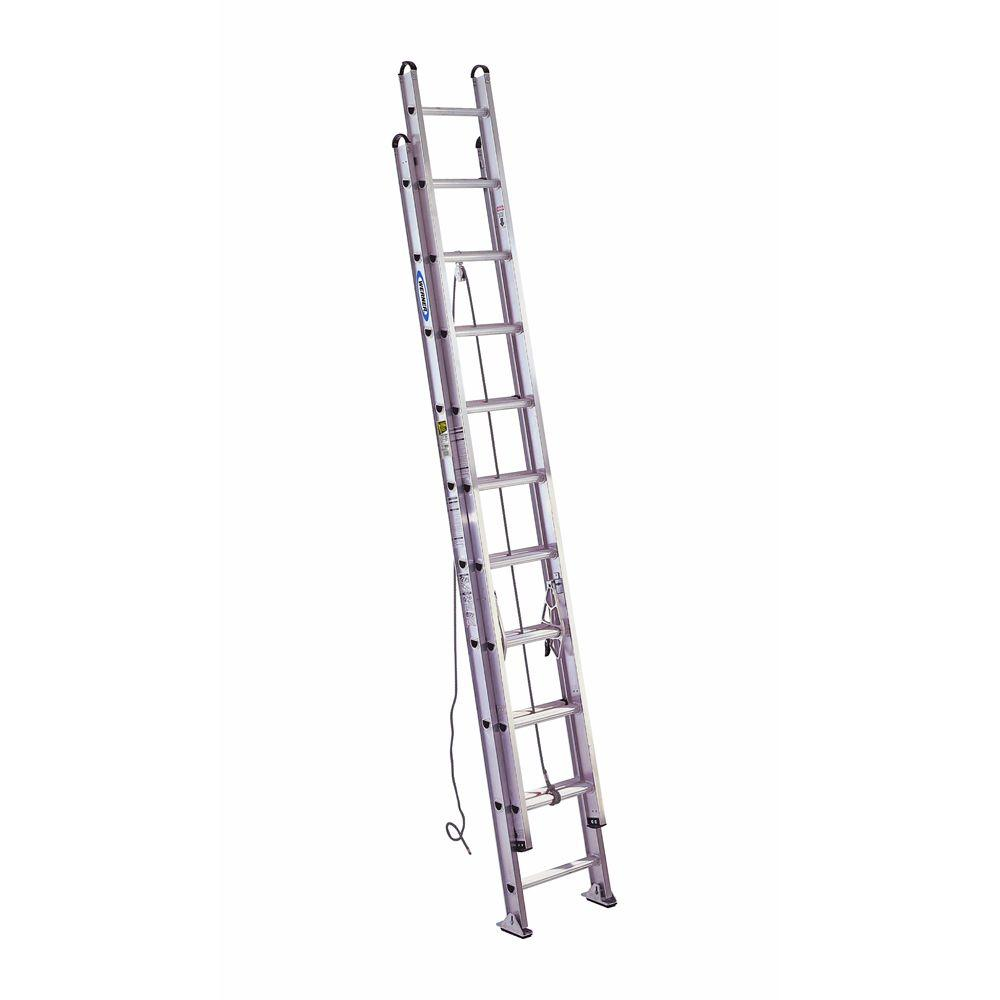 20' Ladder Home Depot Werner 20 Ft Aluminum D Rung Extension Ladder With 375 Lb Load Capacity Type Iaa Duty Rating