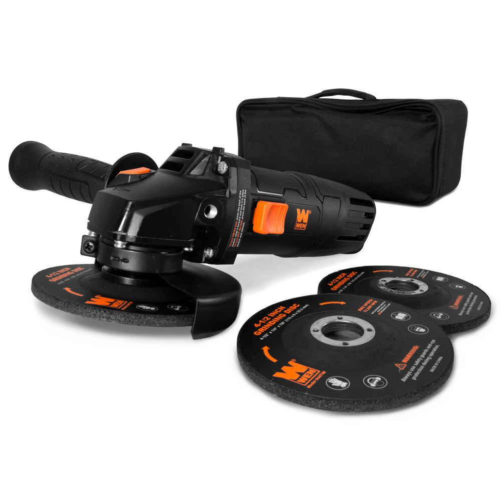 Angle Reversible Wen 7 5 Amp Corded 4 1 2 In Angle Grinder With Reversible Handle 3 Grinding Discs And Carrying Case