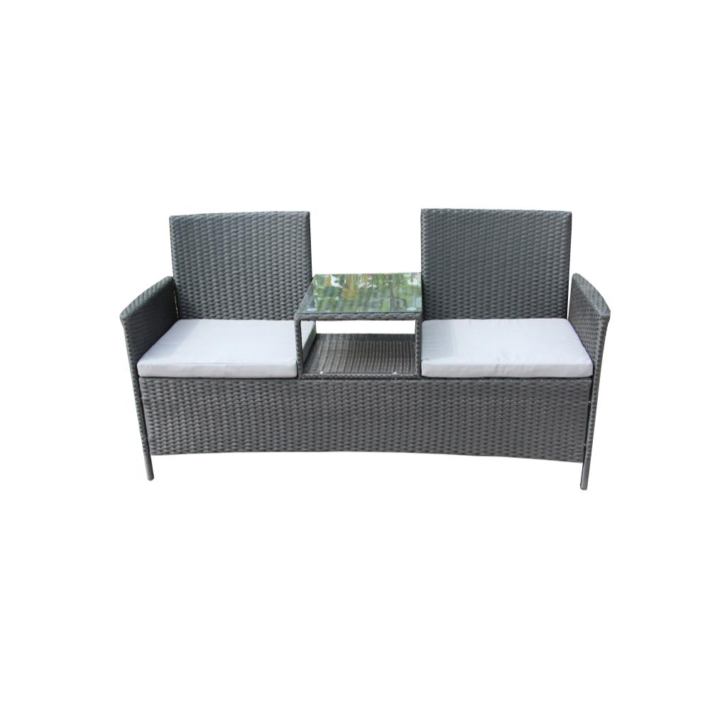 Sofa Rattan Aleko Black 1 Piece Wicker Patio Sofa With White Cushions