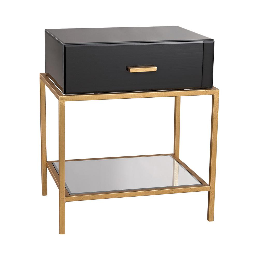Black End Tables With Drawer Evans Black And Gold Leaf Storage Side Table