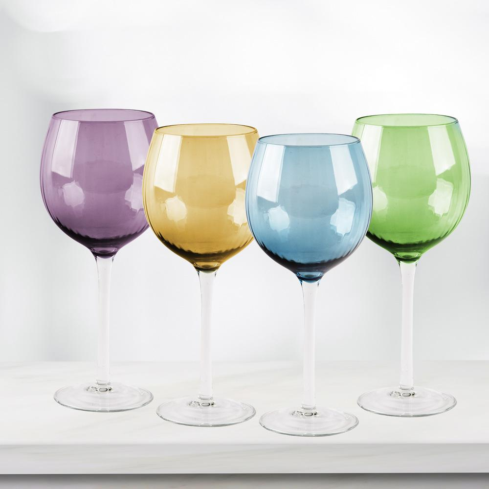 Wine Glasses Jewel 4 Piece Colored Wine Glasses
