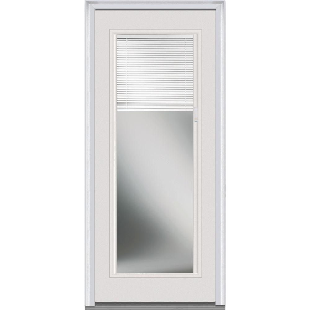 Home Depot Door Casing 36 In X 80 In Internal Blinds Left Hand Inswing Full Lite Clear Primed Steel Prehung Front Door