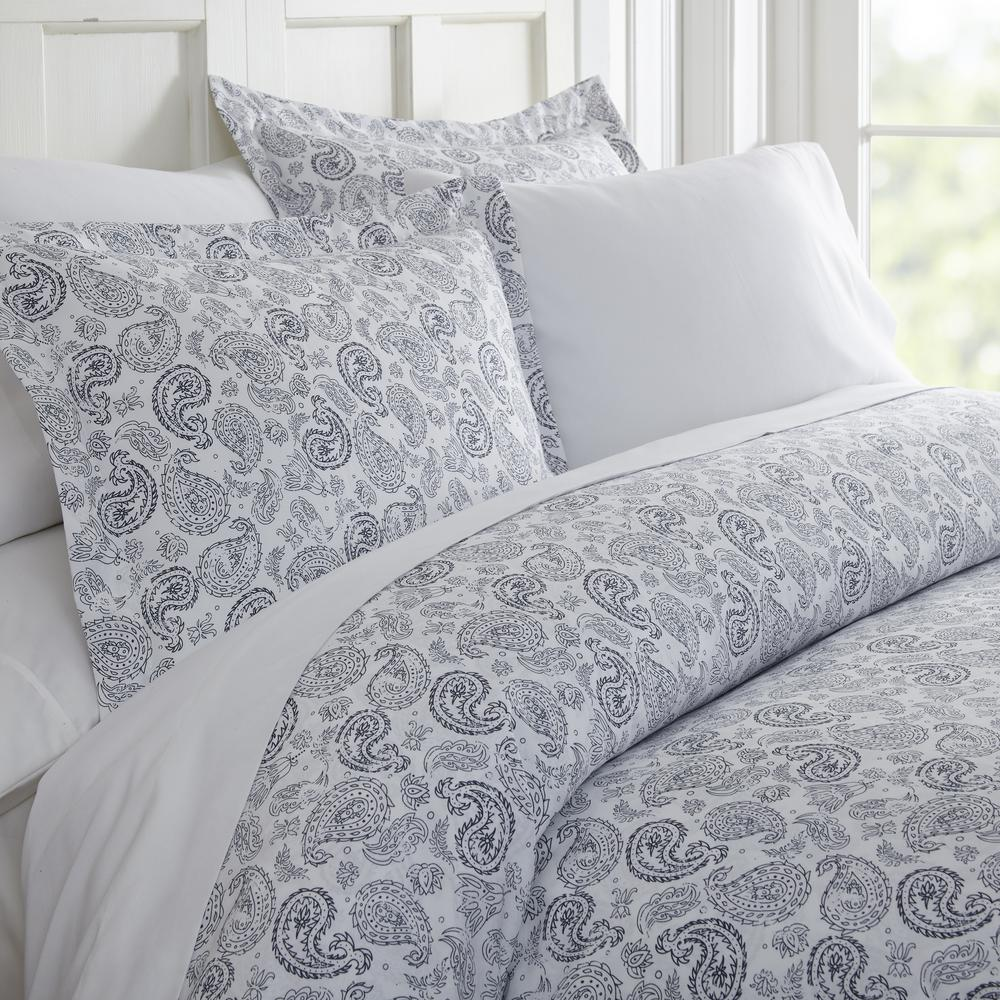 Patterned Duvet Cover Coarse Paisley Patterned Performance Navy Queen 3 Piece Duvet Cover Set