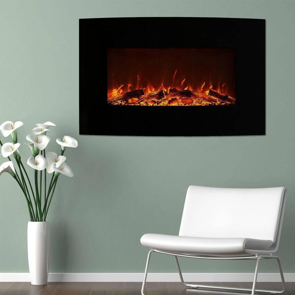 Curved Electric Fireplace Northwest 36 In Curved Color Changing Electric Fireplace Wall Mount Floor Stand In Black