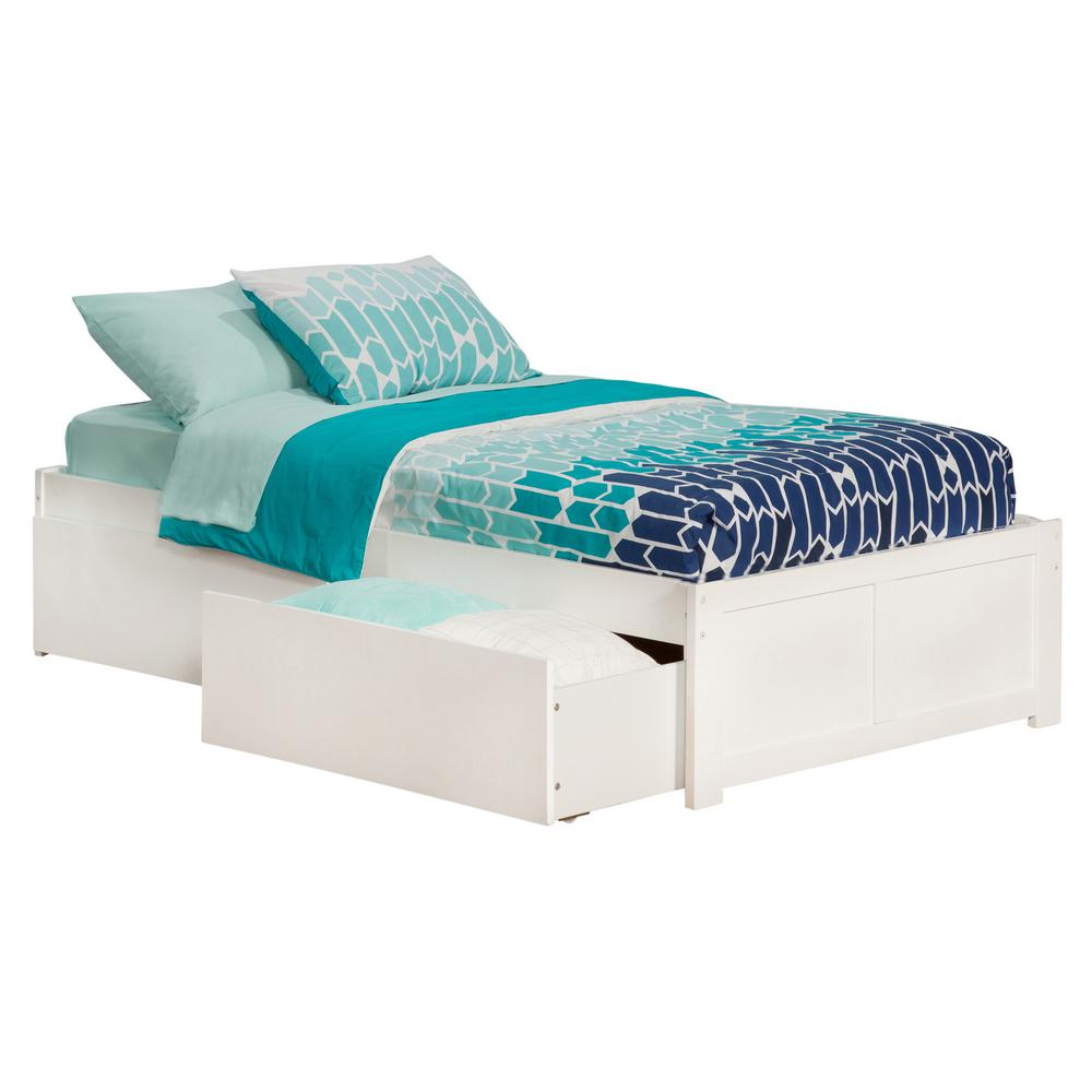White Platform Bed Without Headboard Atlantic Furniture Concord White Twin Platform Bed With Flat Panel