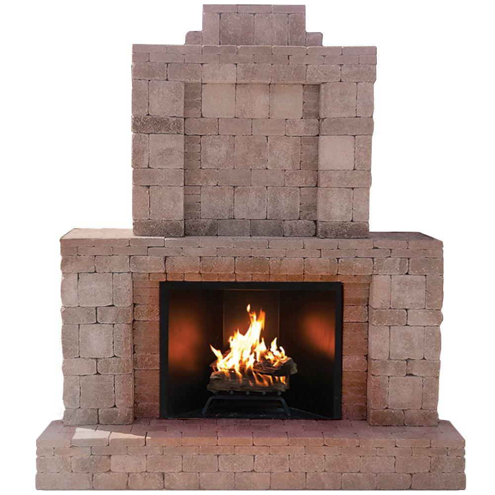 Outdoor Fireplace Electric Pavestone Rumblestone 84 In X 38 5 In X 94 5 In Outdoor Stone Fireplace In Greystone