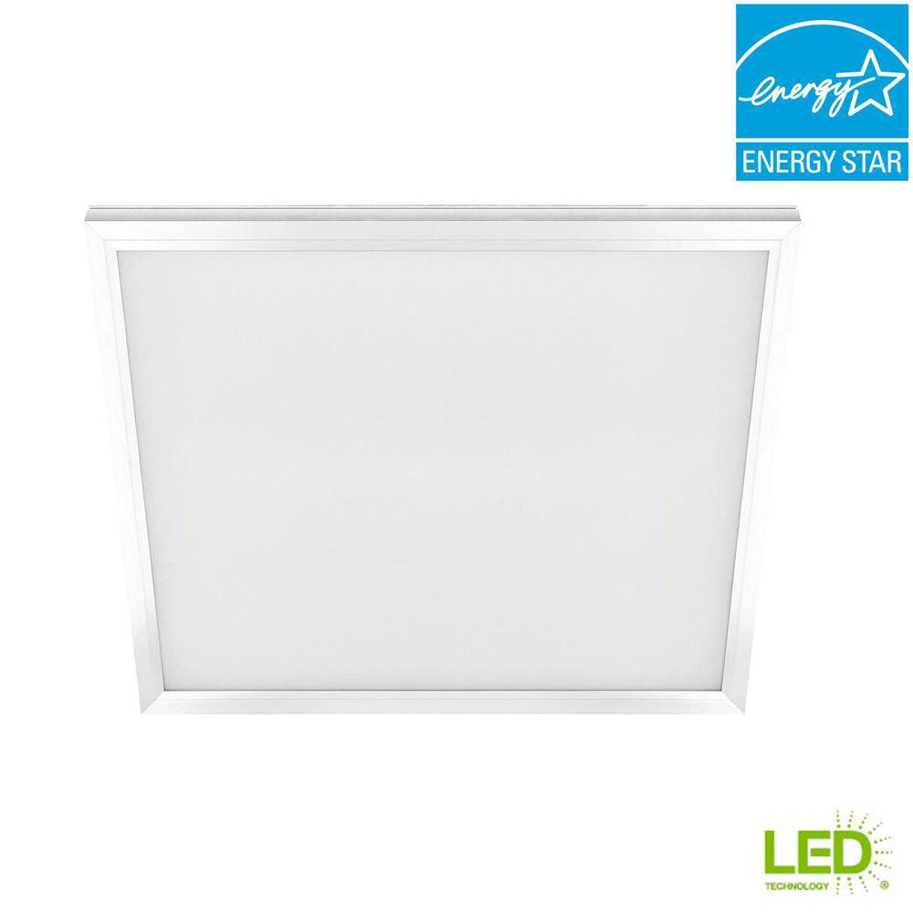 Panel Light Commercial Electric 2 Ft X 2 Ft 47 Watt White Integrated Led Edge Lit Flat Panel T Bar Grid Troffer Recessed Flushmount