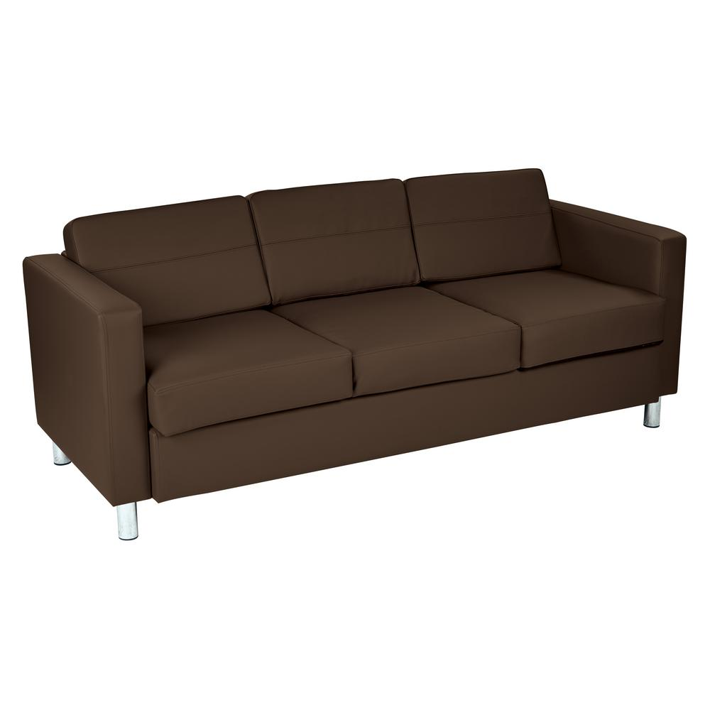 Couch Boxspring Pacific Dillon Java Vinyl Sofa Couch With Box Spring Seats And Silver Color Legs