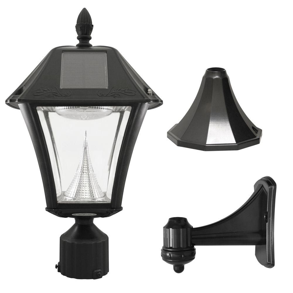 Exterior Led Light Fixtures Gama Sonic Baytown Ii 9 75 In Black Led Outdoor Resin Solar Post Wall Light