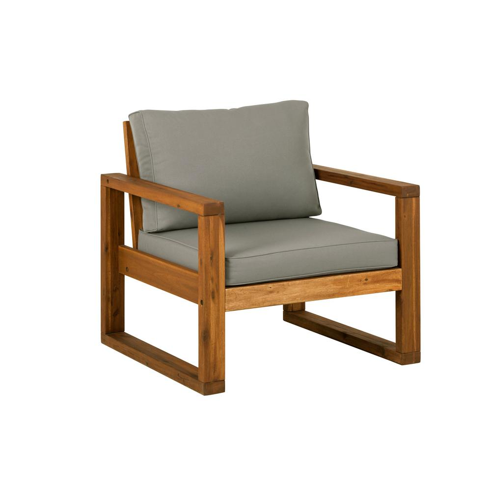 Lounge Chair Brown Open Side Acacia Wood Outdoor Lounge Chair With Ottoman And Gray Cushion