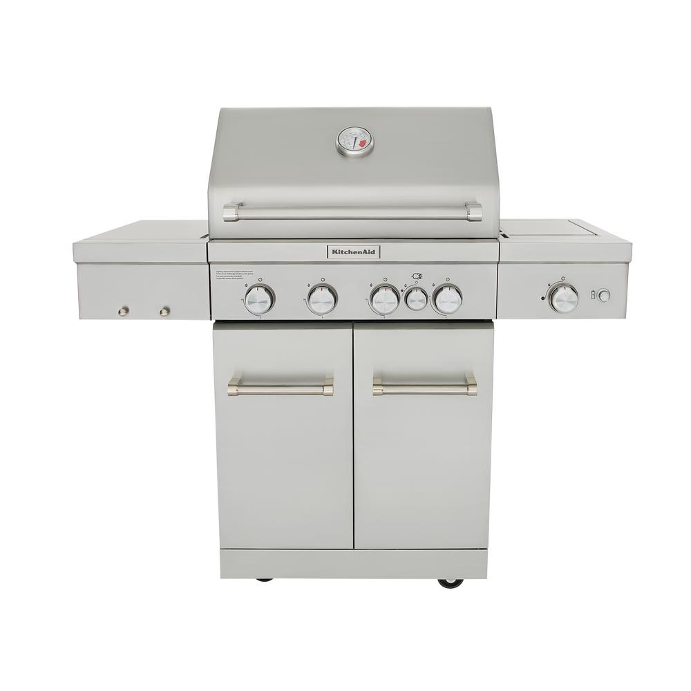 Outdoor Grill 4 Burner Propane Gas Grill In Stainless Steel With Ceramic Searing Side Burner And Rotisserie Burner