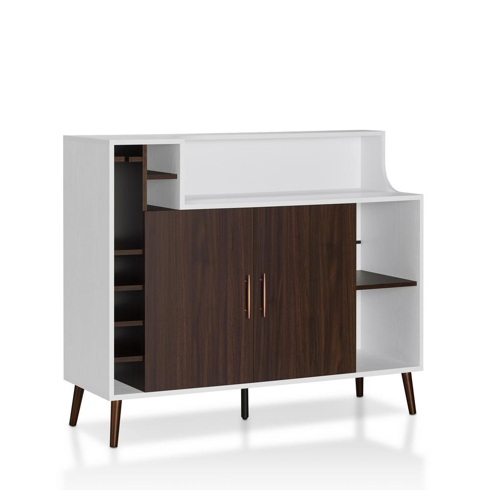 Sideboard Buffet Espresso Furniture Of America Pankhurst White Espresso Buffet With Wine Rack