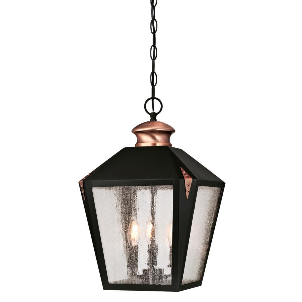 Outdoor Hanging Lamps Westinghouse Valley Forge 3 Light Matte Black With Washed Copper Accents Outdoor Hanging Pendant