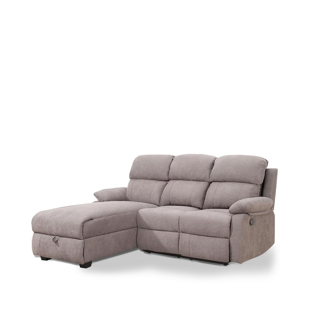 Sectional Corner Couch Ottomanson Recliner L Shaped Taupe Brown Corner Sectional Sofa With Storage