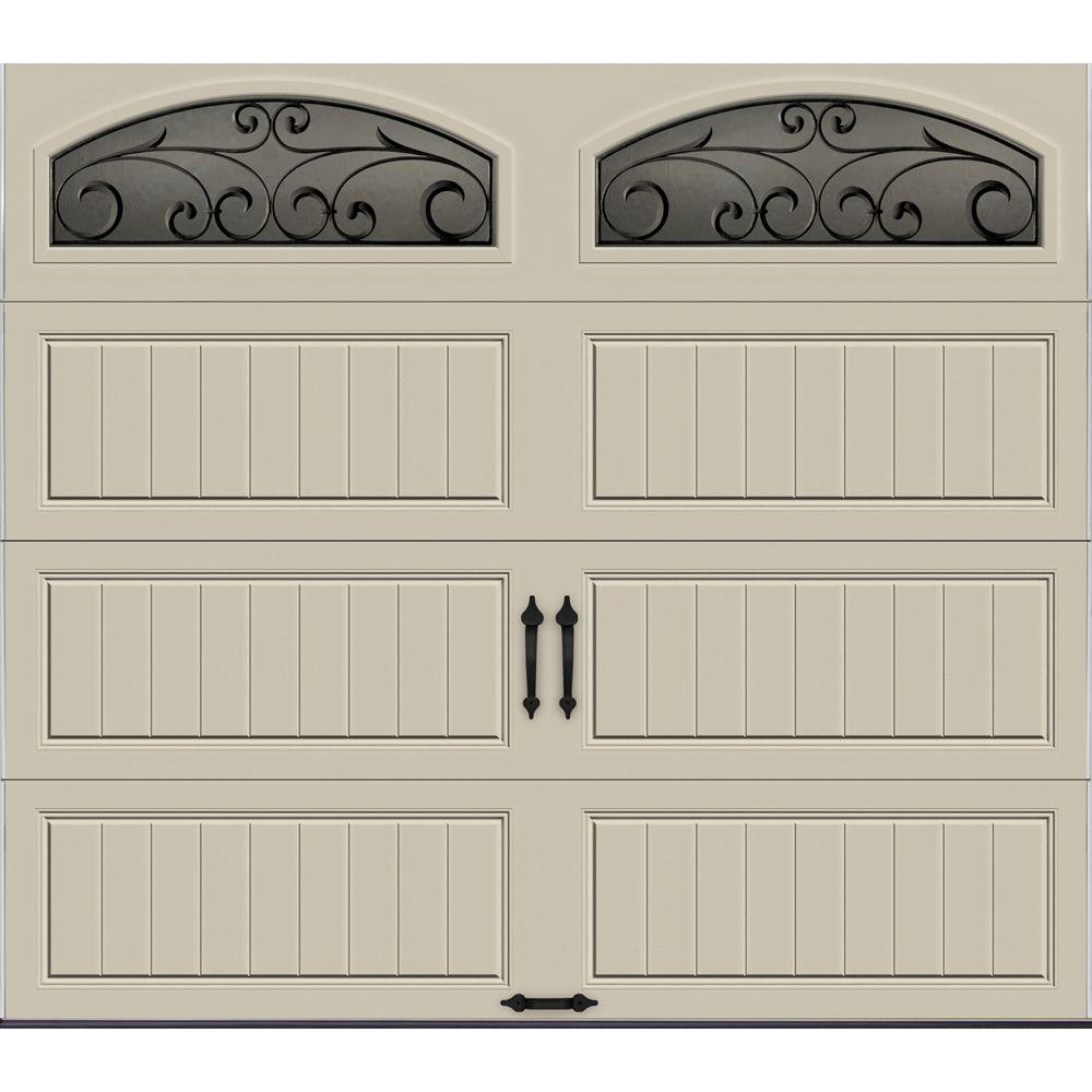 Garage Doors Prices Clopay Gallery Collection 8 Ft X 7 Ft 6 5 R Value Insulated Desert Tan Garage Door With Wrought Iron Window