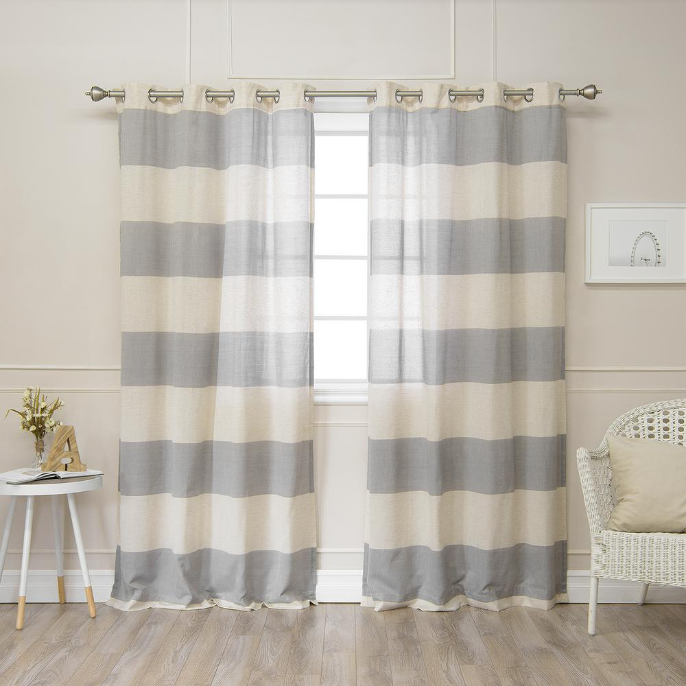 Linen Stripe Shower Curtain Best Home Fashion 84 In L Linen Blend Rugby Stripe Curtains 2 Pack