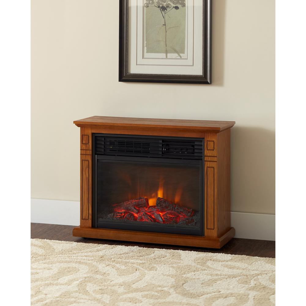 Electric Fireplace.com Hampton Bay Cedarstone 29 In 3 Element Mantel Infrared Electric Fireplace In Oak