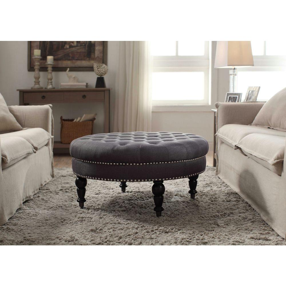 Colorful Ottoman Coffee Table Linon Home Decor Isabelle Charcoal Accent Ottoman