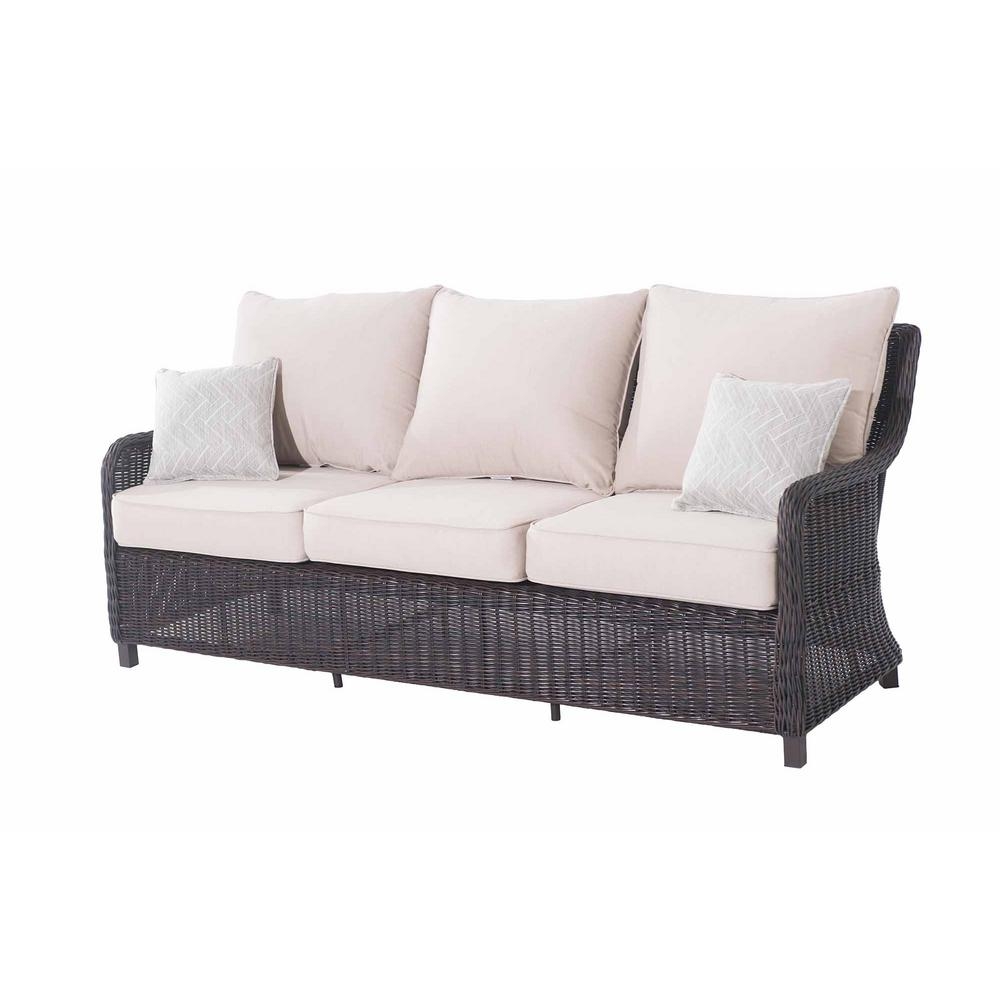 Rattan Sofa Sunjoy Dighton Brown 3 Seat Wicker Outdoor Sofa With Beige Cushions