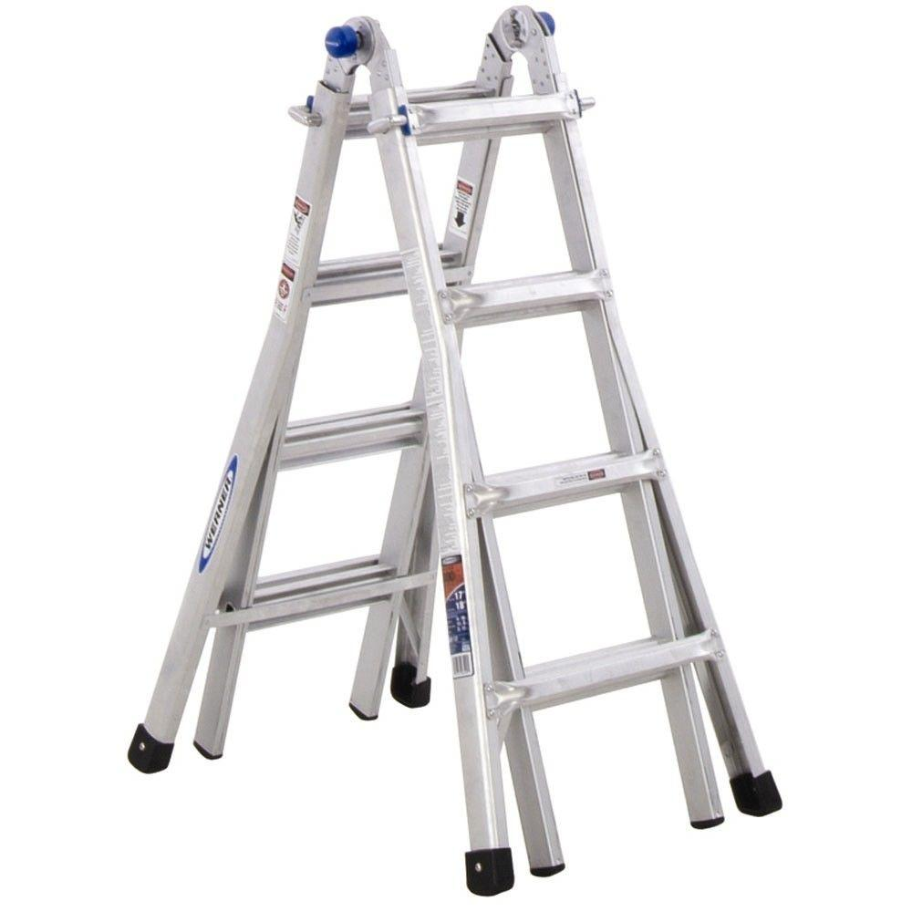 20' Ladder Home Depot Werner 18 Ft Reach Aluminum Telescoping Multi Position Ladder With 300 Lb Load Capacity Type Ia Duty Rating