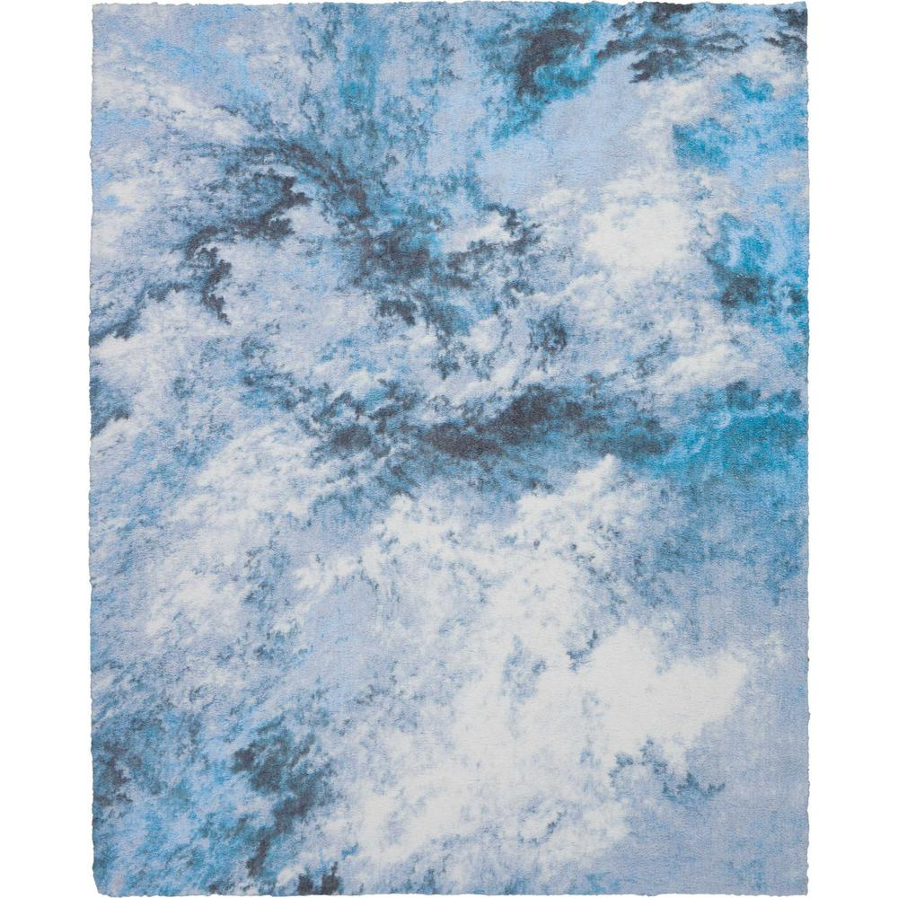 Blue Shag Rug Nourison Abstract Shag 8 X 10 Blue And White Colorful Area Rug