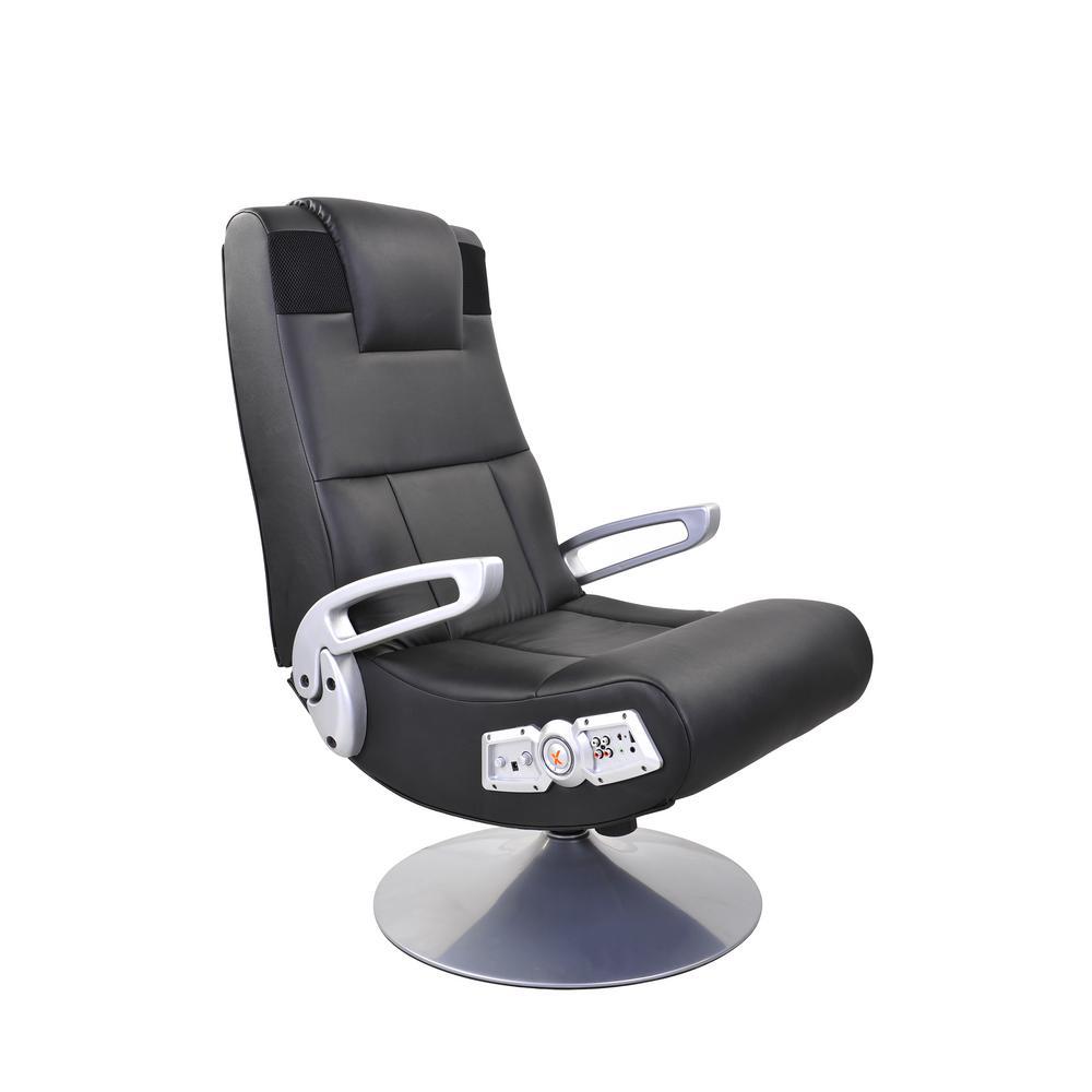 X Rocker Black Vinyl Wireless Audio Pedestal Chair
