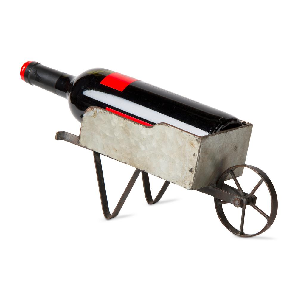 Decorative Metal Wine Racks Tag 1 Bottle Gray Wheelbarrow Galvanized Metal Wine Bottle Holder