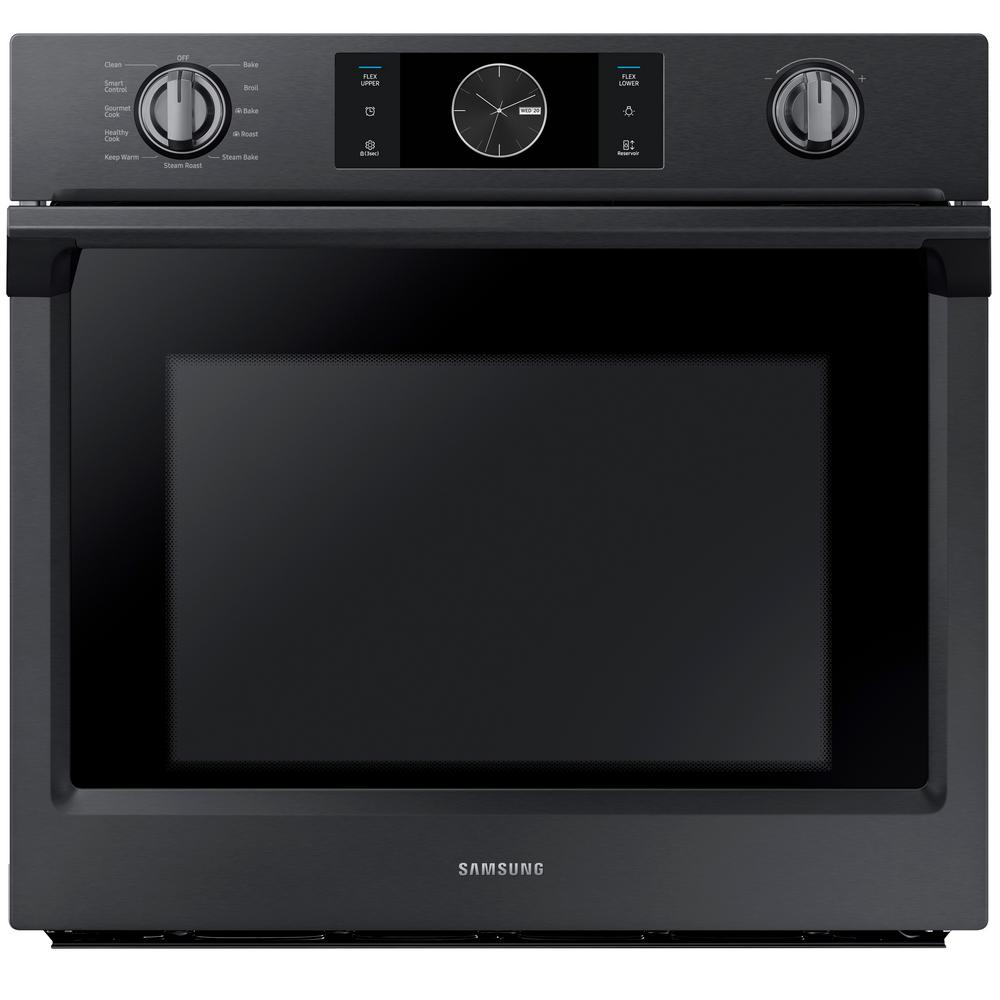 30 Wall Ovens Samsung 30 In Single Electric Wall Oven With Steam Cook Flex Duo And Dual Convection In Fingerprint Resistant Black Stainless