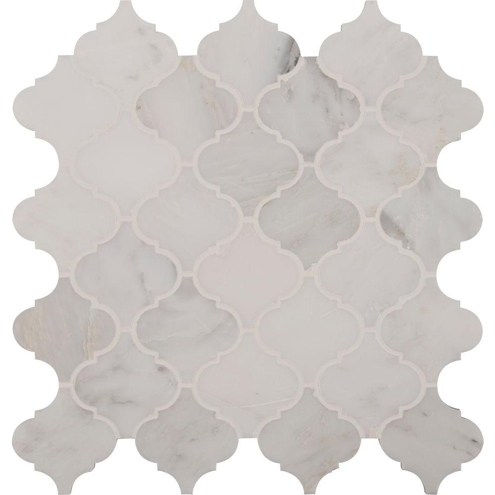 Plancher Home Depot Msi Greecian White Arabesque 12 In X 12 In X 10mm Polished Marble Mesh Mounted Mosaic Floor And Wall Tile 10 Sq Case