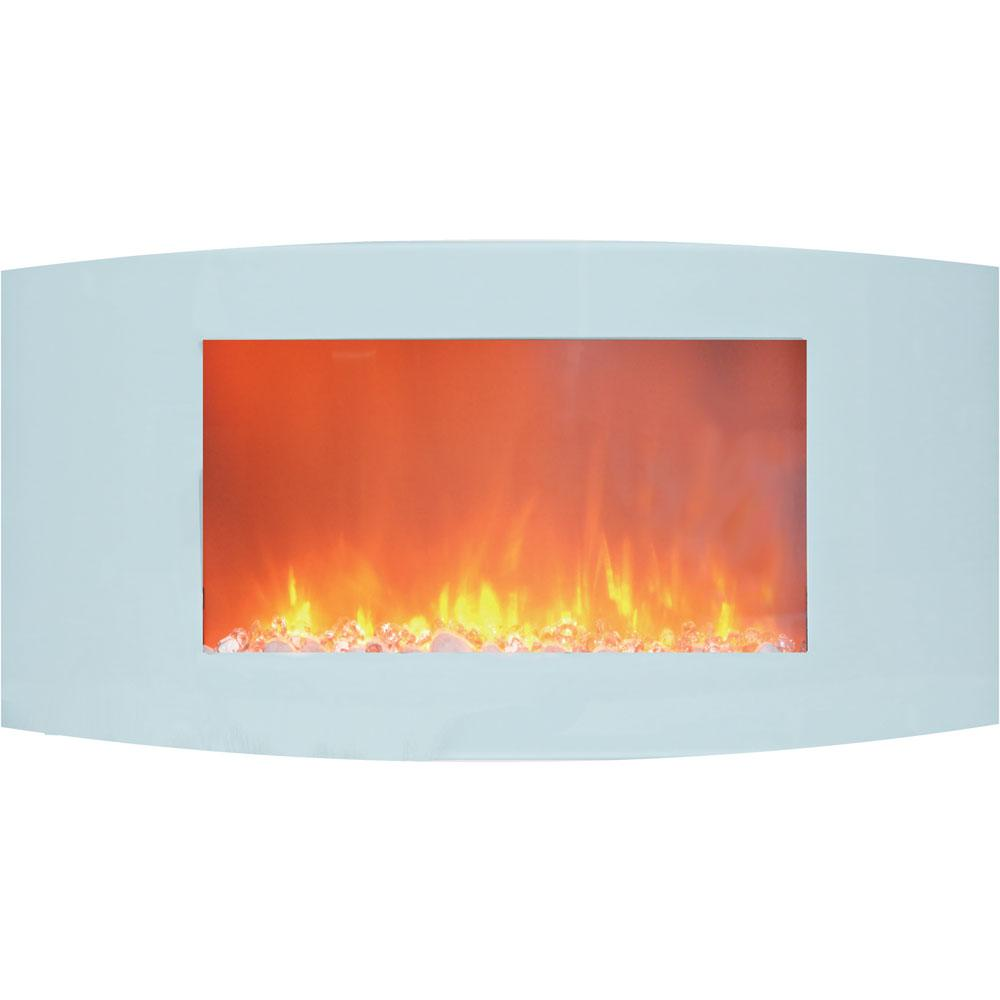Curved Electric Fireplace Hanover Fireside 35 In Wall Mount Electric Fireplace With White Curved Panel And Crystal Rocks