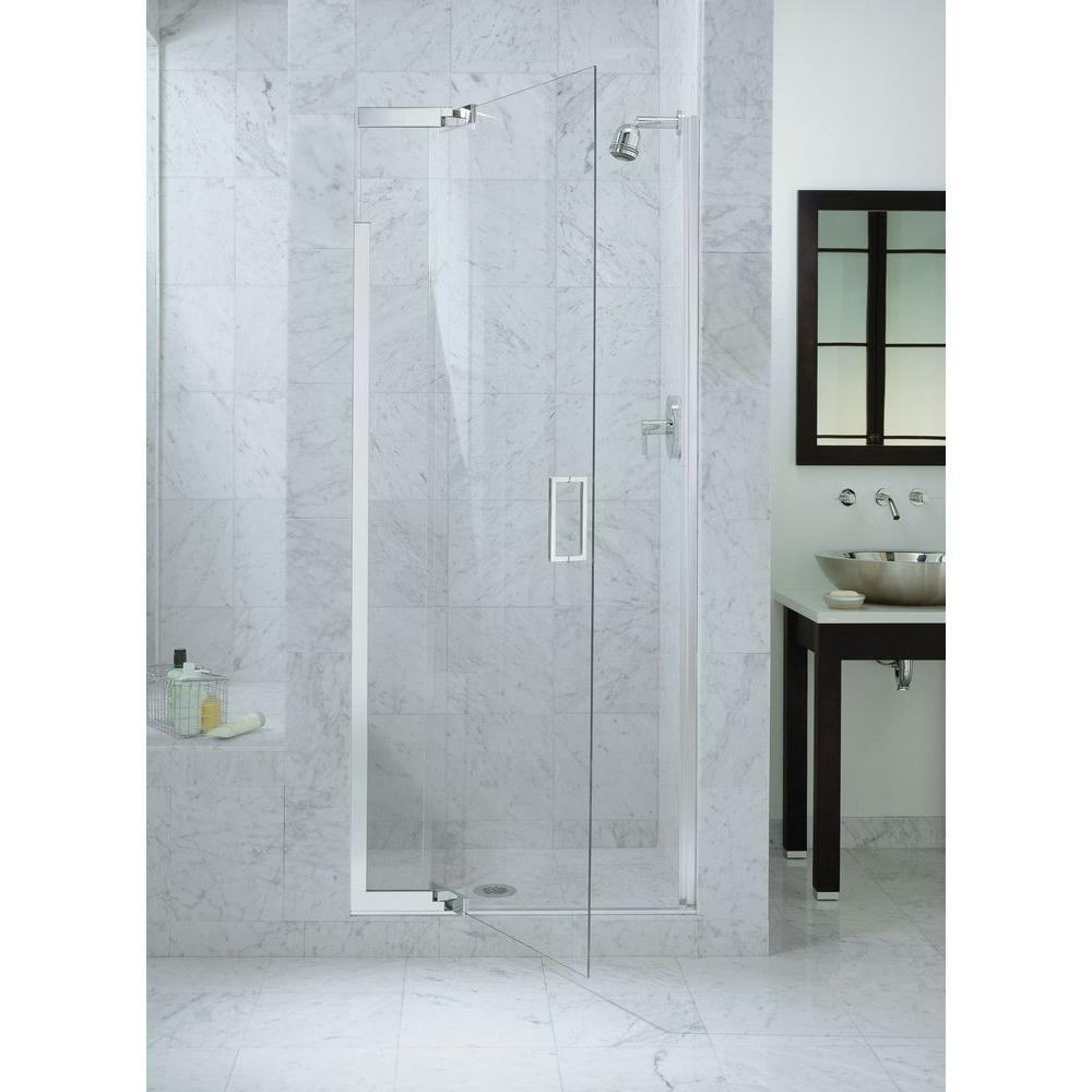Bathroom Kohler Kohler Purist 36 In X 72 In Heavy Semi Frameless Pivot Shower Door In Bright Silver With Handle
