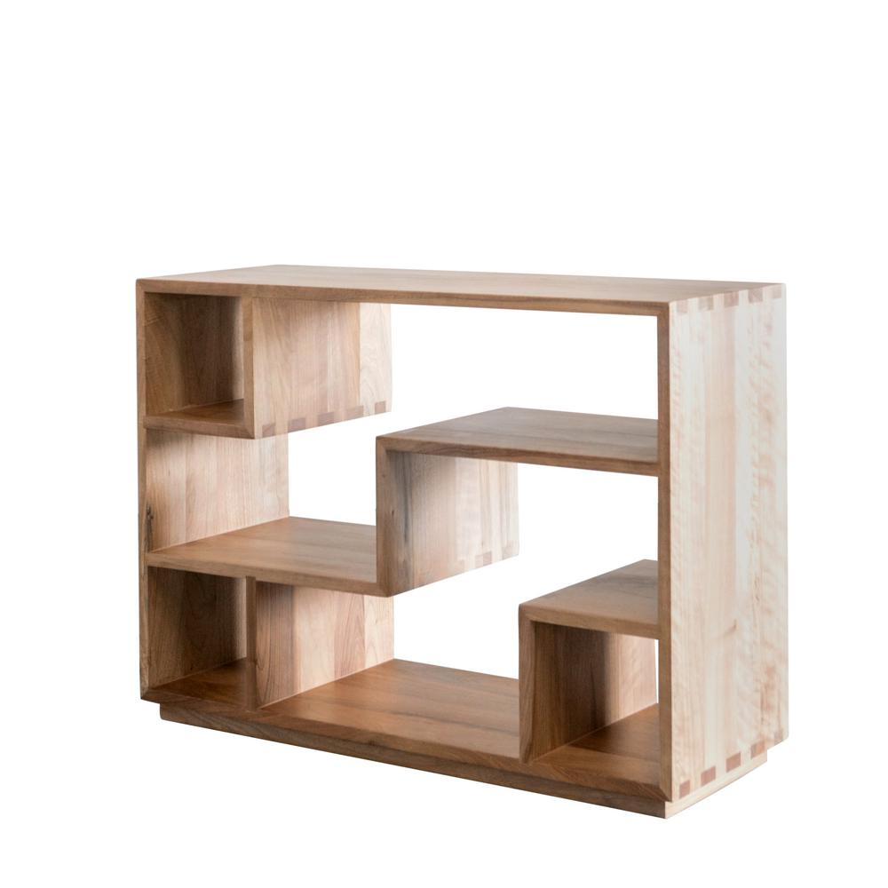 Andmakers Tao 33 In Light Walnut Wood 4 Shelf Decorative Etagere Bookcase Bk720 Wn The Home Depot - Etageres Decoratives