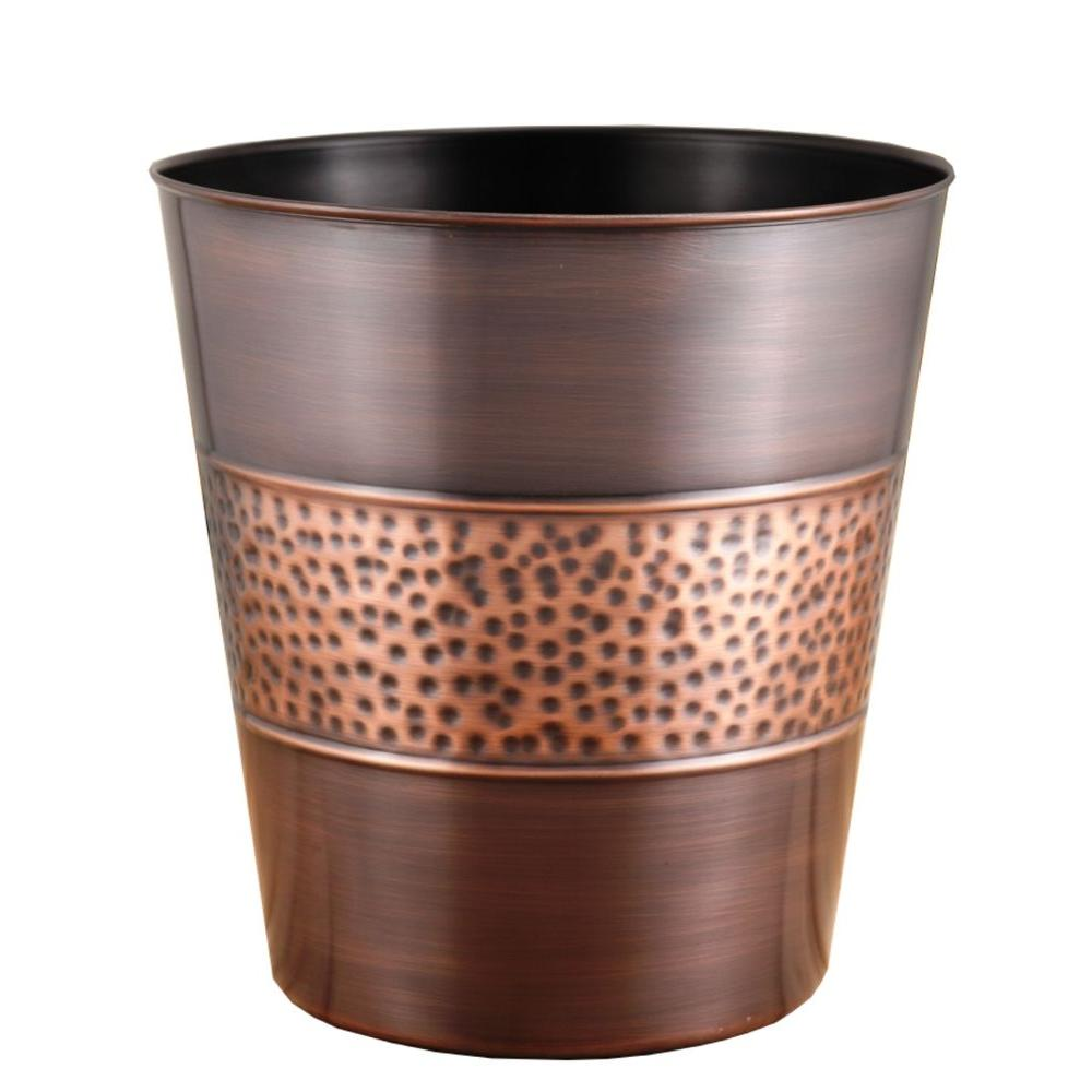 Copper Trash Can With Lid Fashion Home 3 Gal Hammered Tonal Bronze Copper Round Trash Can