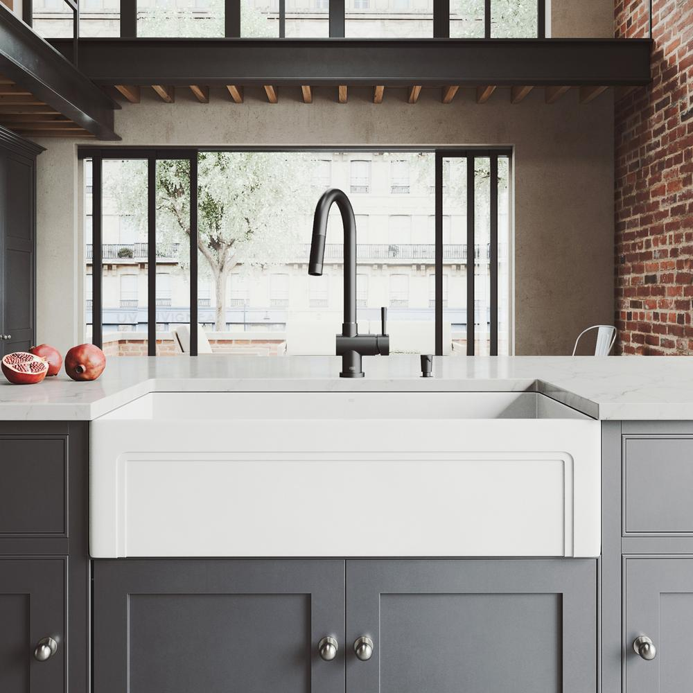 Stone Farmhouse Sink Lowest Price Vigo All In One Farmhouse Matte Stone 36 In Single Bowl Kitchen Sink With Gramercy Faucet In Matte Black