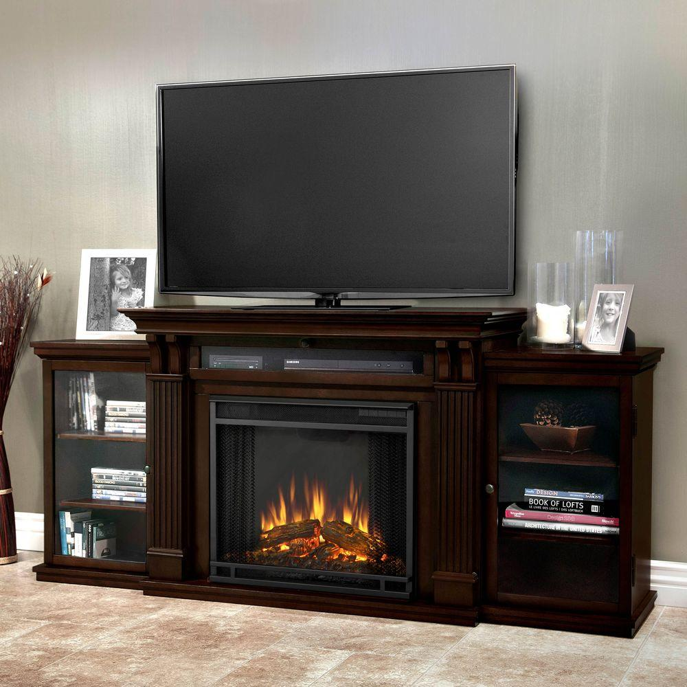 Fireplace Tv Stand Home Depot Real Flame Calie Entertainment 67 In Media Console Electric Fireplace Tv Stand In Dark Walnut