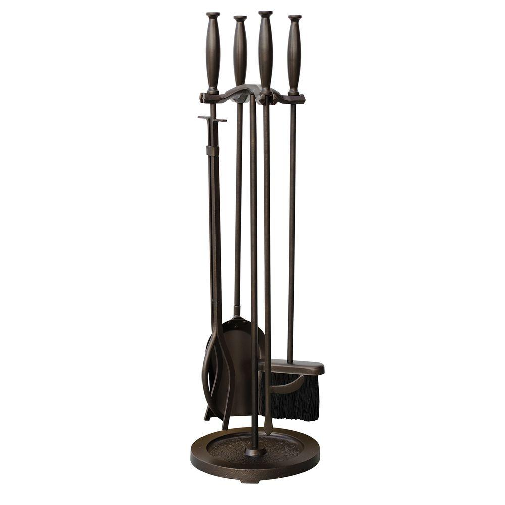 Fireplace Poker Sets Bronze 5 Piece Fireplace Tool Set With Cylinder Handles
