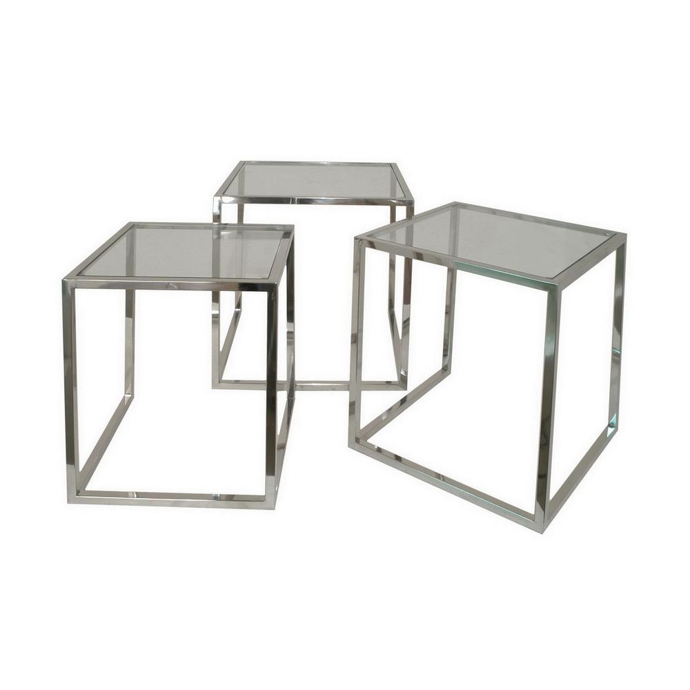 Glass Nesting Tables 22 In Silver Nesting Table Set Of 3
