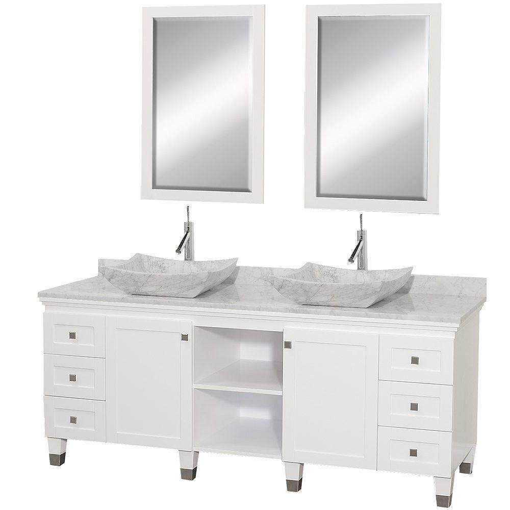 Bathroom Vanity 72 Double Sink Wyndham Collection Premiere 72 In Double Vanity In White With Marble Vanity Top In White Carrara Sinks And Mirrors