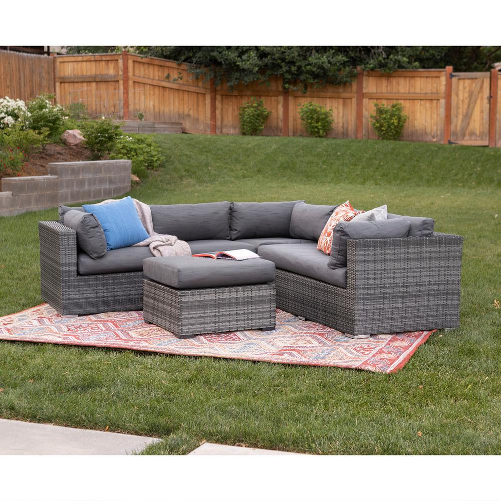 Rattan Sofa Corner Set Walker Edison Furniture Company Gray 4 Piece Wicker Patio Conversation Set With Cushions