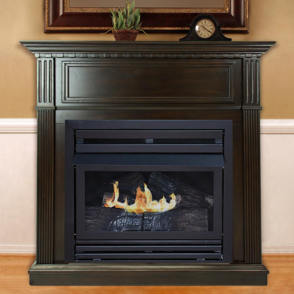 Btu Gas Fireplace Pleasant Hearth 27 500 Btu 42 In Convertible Ventless Natural Gas Fireplace In Tobacco