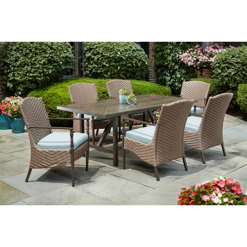 Outdoor Patio Furniture Dining Table Home Decorators Collection Bolingbrook 7 Piece Wicker Outdoor Patio Dining Set With Sunbrella Spectrum Mist Cushions