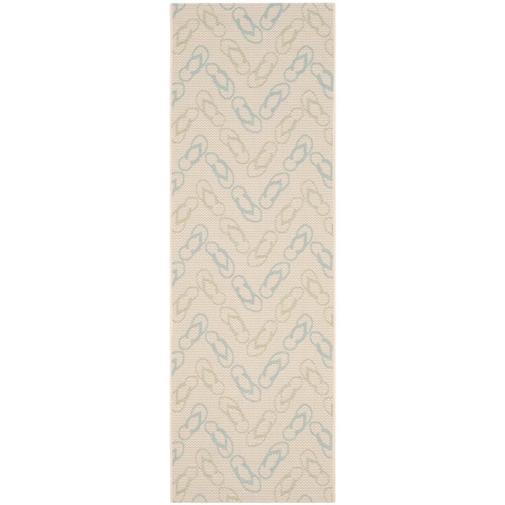 Safavieh Courtyard Safavieh Courtyard Beige Aqua 2 Ft X 7 Ft Indoor Outdoor Runner Rug